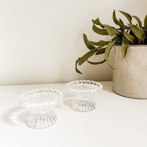 Set of 2 glass candlestick holders #2